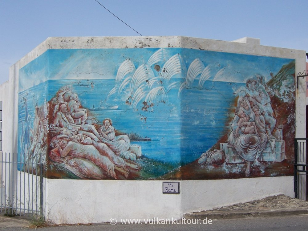 Wandmalerei in Malfa (Salina) - Emigration als Bild