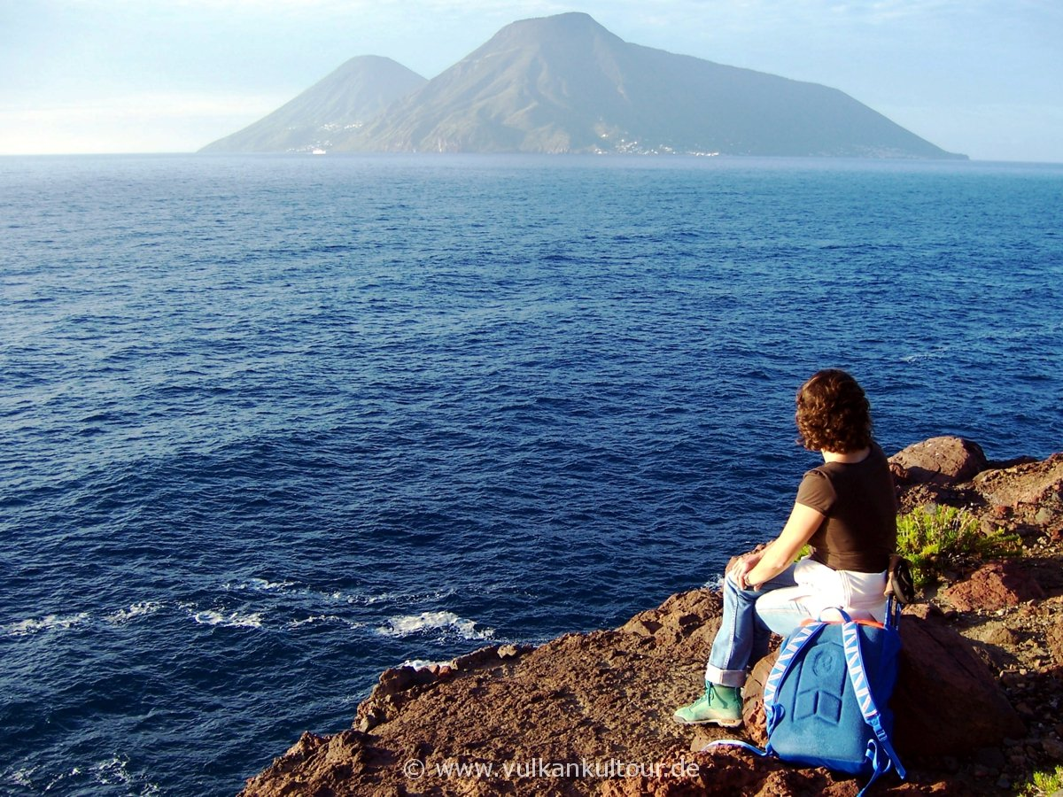 Lipari - punta di palmeto - Blick auf Salina