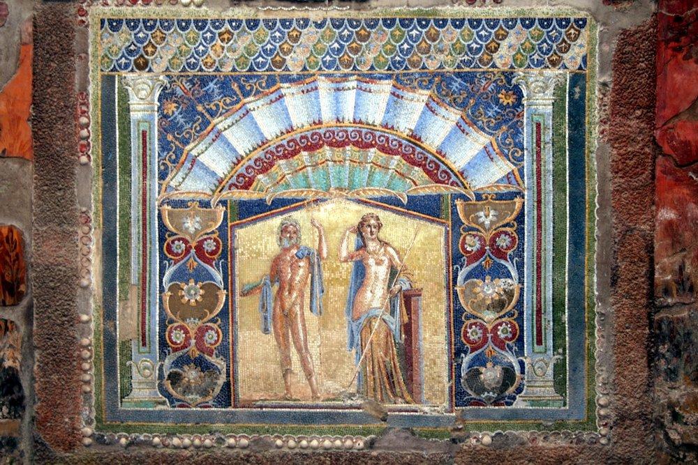 Herculaneum: Mosaik von Neptun und Anfitrite (© Julia Lauberger)