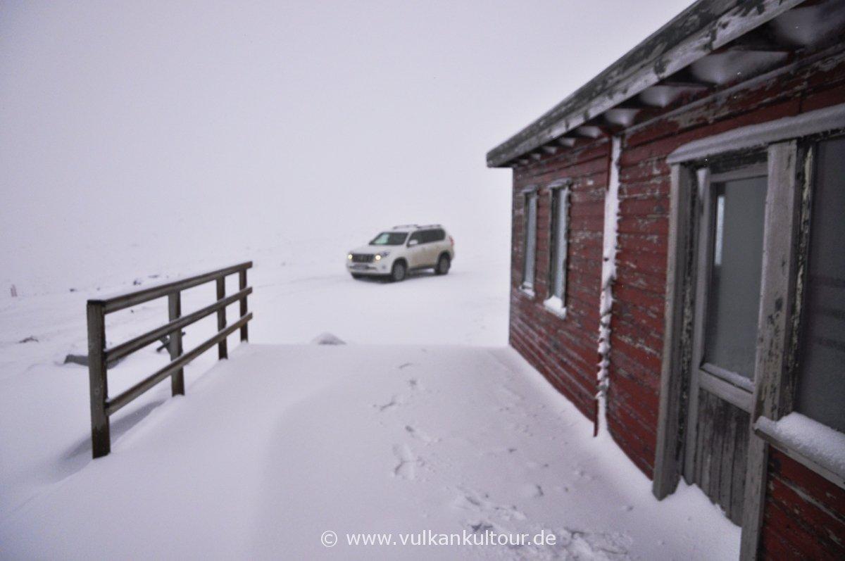 Schneefall kurz vor dem Mýrdalsjökull