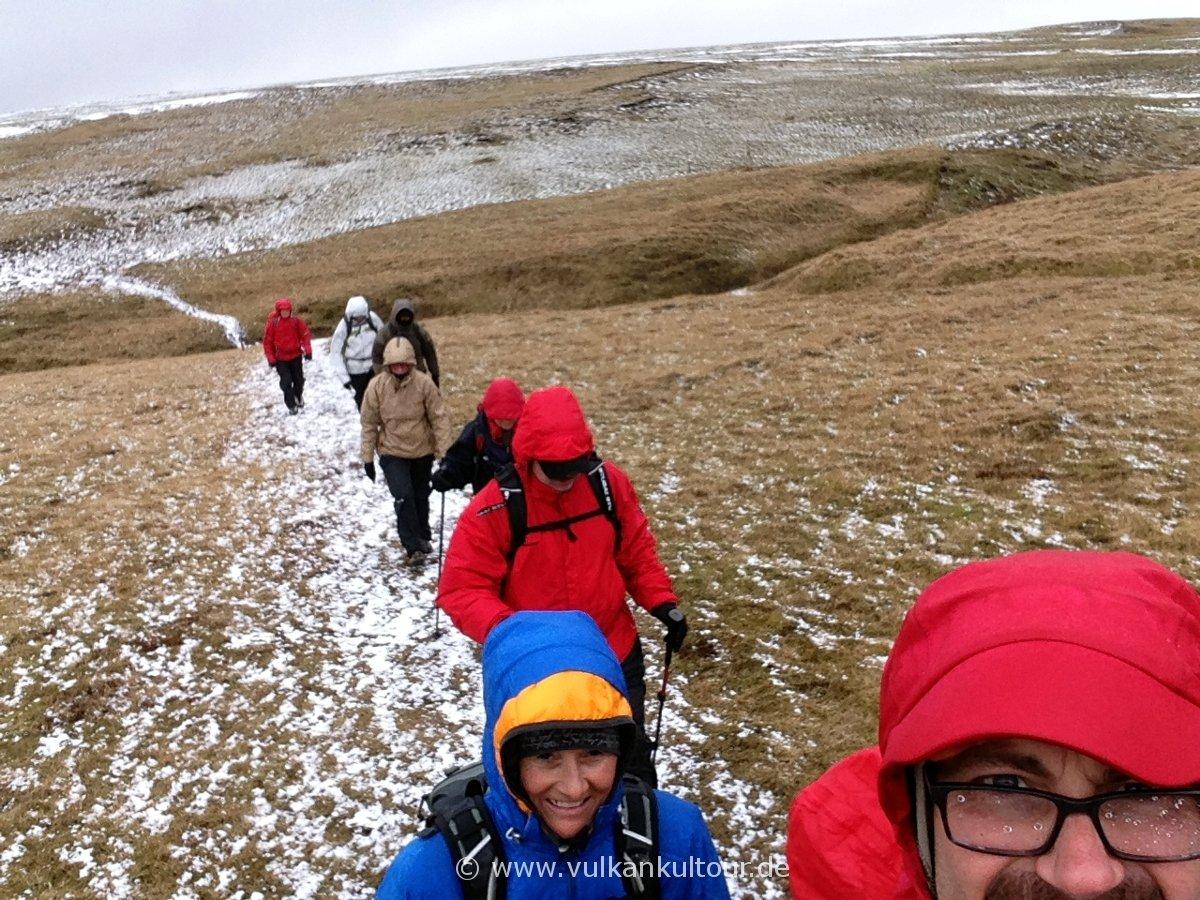 Schneesturmwanderung auf den Hjörleifshöfðdi