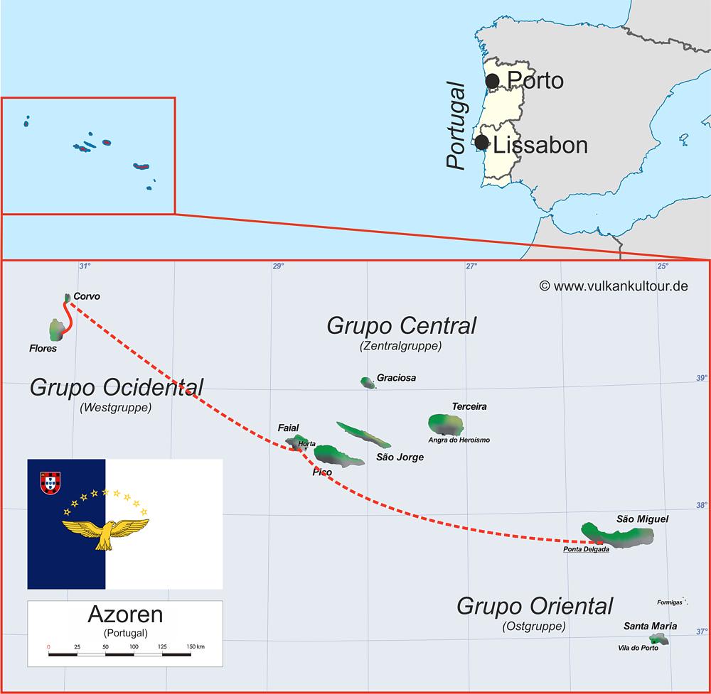 Reiseroute Azoren West