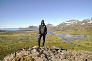 Florian über der Hornvík-Bucht