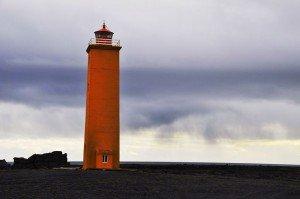 Leuchtturm an der Mündung der Skaftá