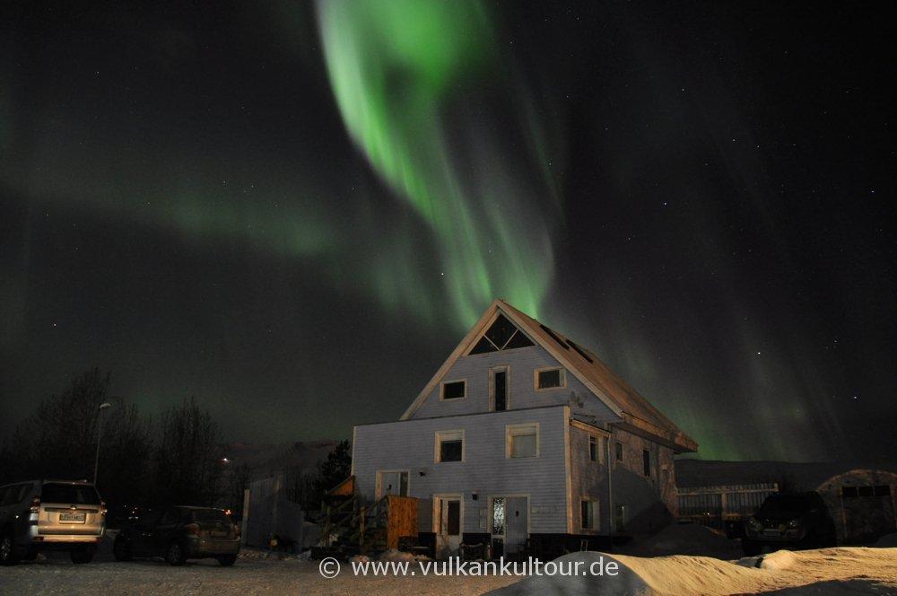 Polarlichter über unserer Pension bei Akureyri