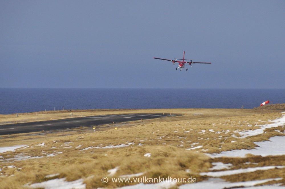 Landeanflug auf Grímsey