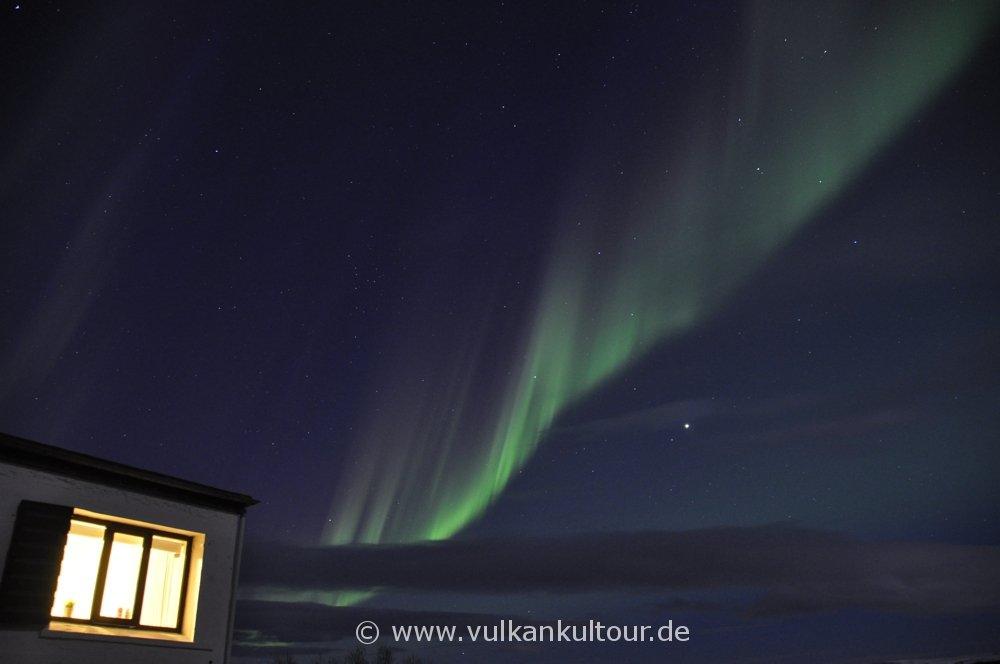 Polarlichter über unserer Pension Hvammsgerði