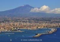 Landeanflug auf Catania am Fuße des Ätna