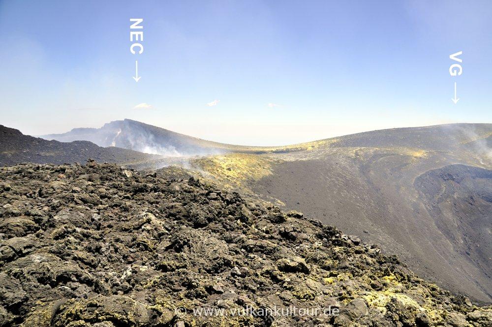 Der Sattel zwischen NE-Krater und Voragine Grande (15. Juni 2016)