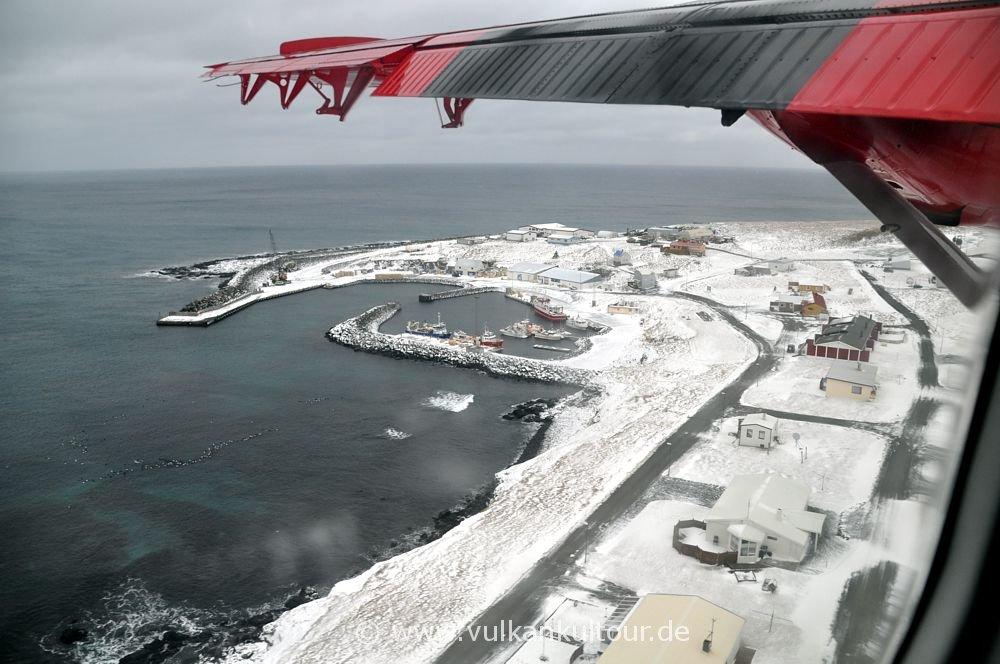 Anflug auf Grímsey