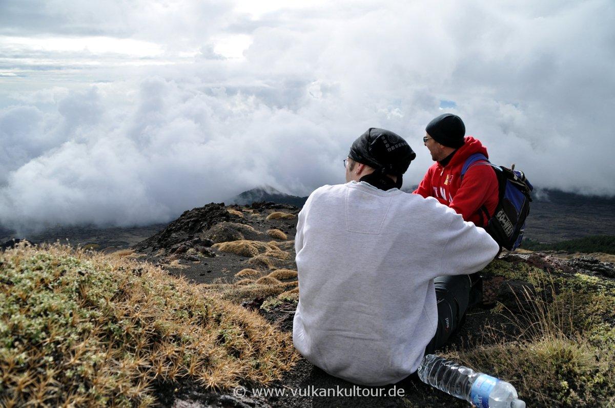 Blick ins wolkenverhangene Valle del Bove