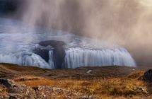 Der goldene Wasserfall: Gullfoss in der Morgensonne