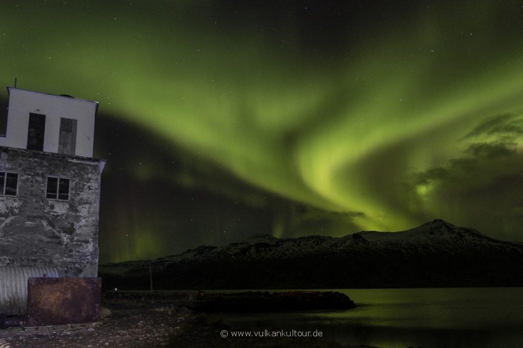 Nordlichter über Djúpavík (Westfjorde)