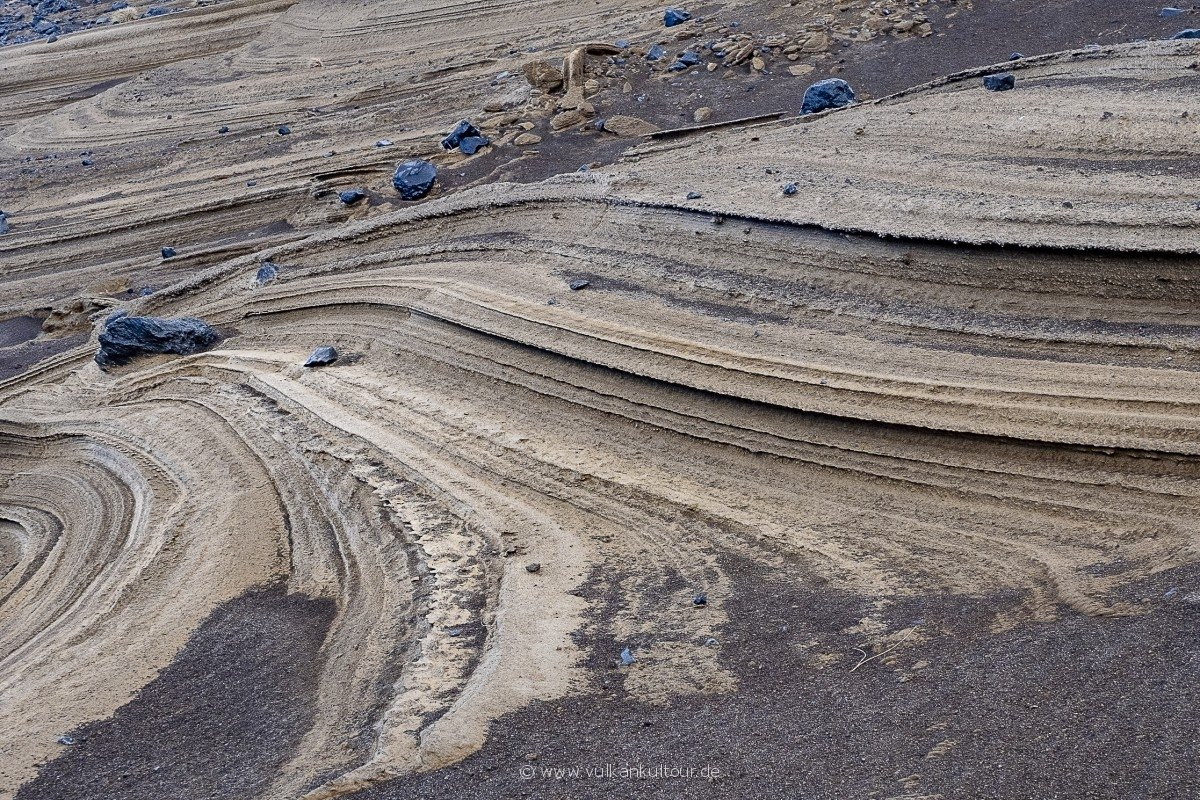 Vulkanische Ablagerungen bei Capelinhos