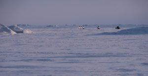 Mit dem Schneemobil über den zugefrorenen Fjord