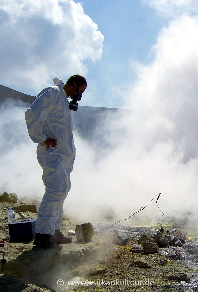 Gasmessungen auf dem Gran Cratere / Vulcano