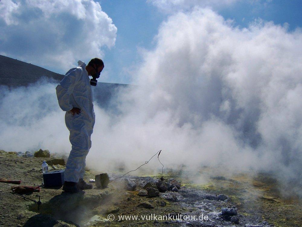 Gasmessungen auf dem Gran Cratere von Vulcano