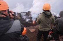 Aufstieg auf den Stromboli - schön zu sehen der Zentralkrater