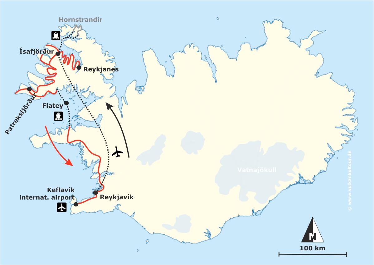 Reiseroute Westfjorde