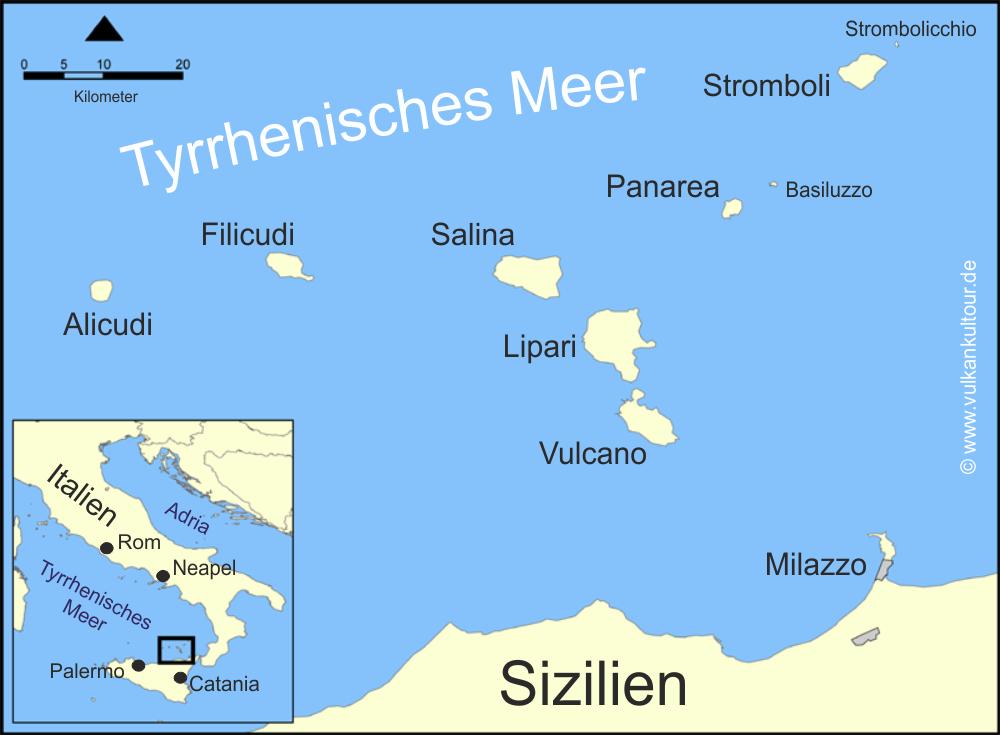 liparische inseln karte Liparische Inseln Karte map   Vulkankultour