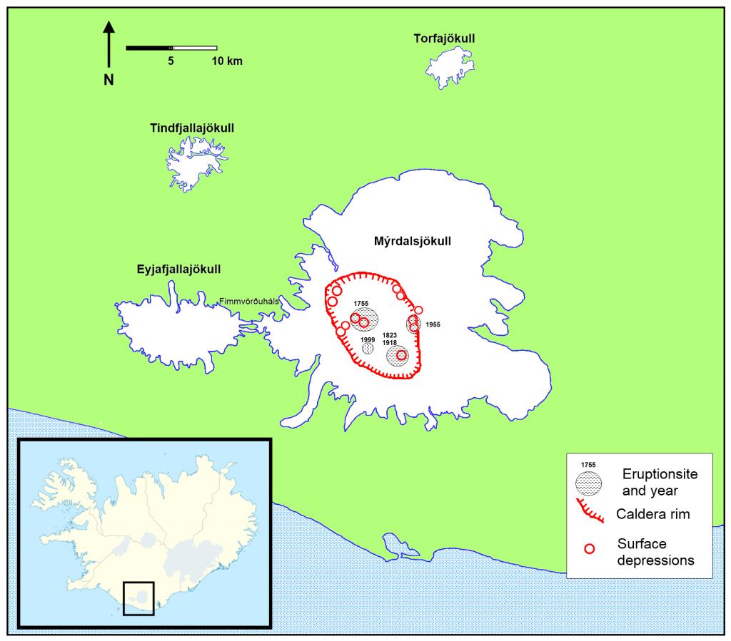Lage der Katla-Caldera unter dem Mýrdalsjökull (Bildquelle: Wikimedia Commons)