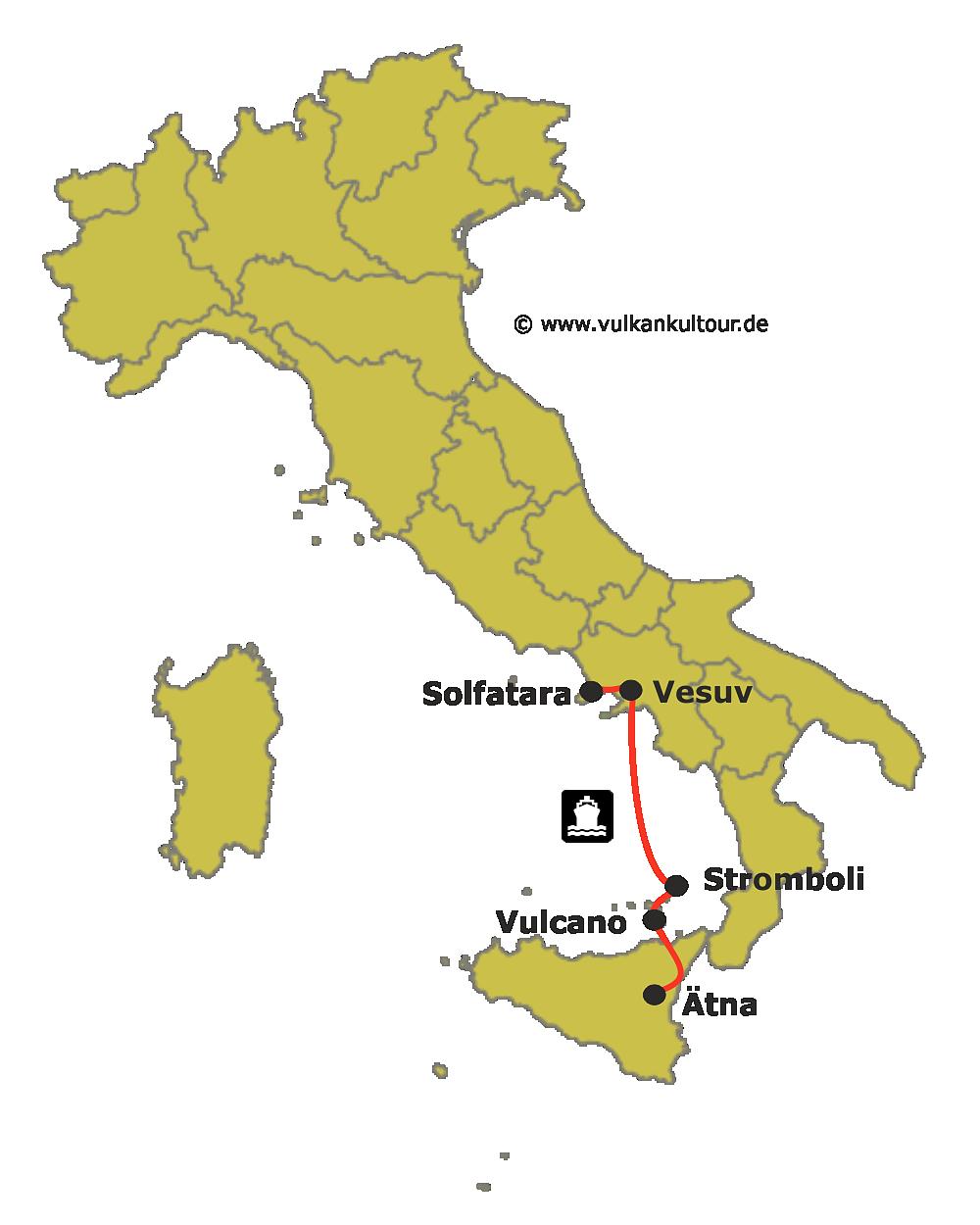 Reiseroute Feuerberge Süditaliens