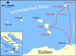 Reiseroute Liparische Inseln (Anreise über Catania)