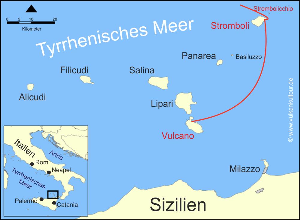 Reiseroute Stromboli Kurztrip Karte map