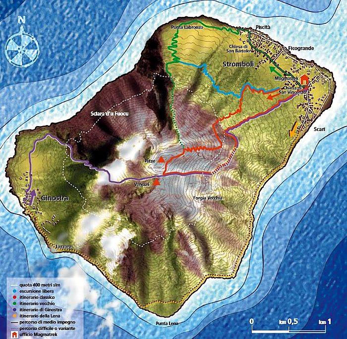 Stromboli Aufstiegswege