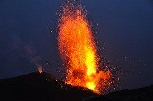 Strombolianische Vulkanausbrüche Stromboli Eruption
