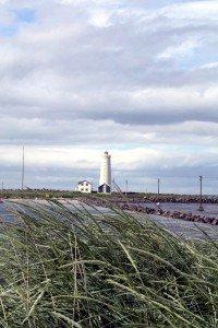 Leuchtturm auf der Halbinsel Seltjarnarnes in Reykjavík