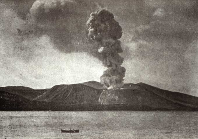 Vulcanianische Vulkanausbrüche - Letzter Ausbruch des Vulcano anno 1890 (Bildquelle: Wikimedia Commons)