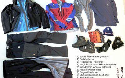Empfohlene Wanderausrüstung in Island