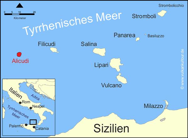 Übersicht Liparische Inseln. Rot markiert: Alicudi, die westlichste und kleinste Insel des Archipels.