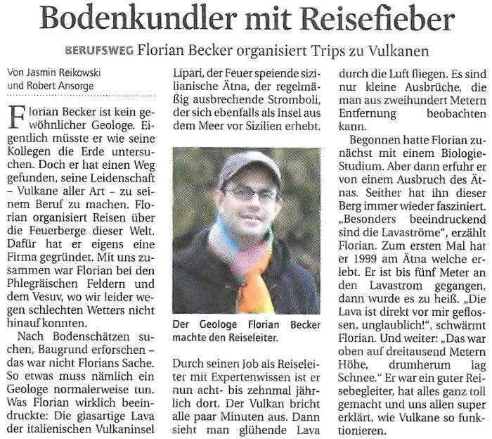 Bodenkundler mit Reisefieber - Florian Becker organisiert Trips zu Vulkanen