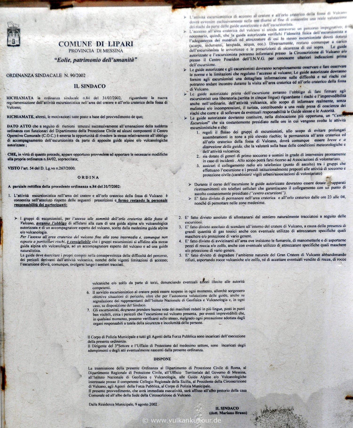 Vulcano Verbotsschild (für höhere Auflösung klicken)